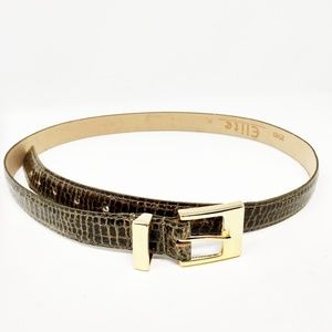Women's Vintage Elite Olive Green croc Print belt
